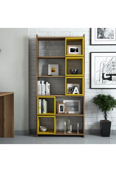 Variant Mobilya Box Çalışma Masası Ve Kitaplık Takımı - Ceviz / Sarı
