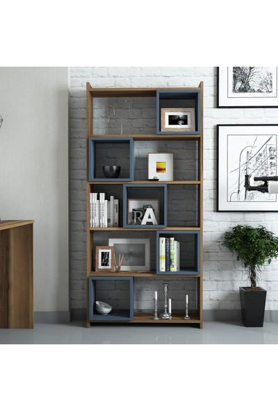 Variant Mobilya Box Çalışma Masası Ve Kitaplık Takımı - Ceviz / Mavi