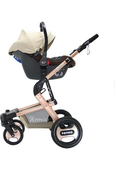 Yoyko Elegance Travel Sistem Bebek Arabası 3 in 1 Bej Rose
