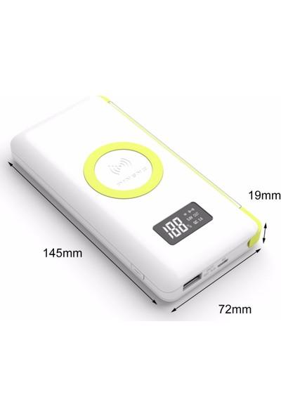 Pineng PN-888 10000 mAh Wireless QC 3.0 Yüksek Hızlı Dijital LED Göstergeli Powerbank - Beyaz