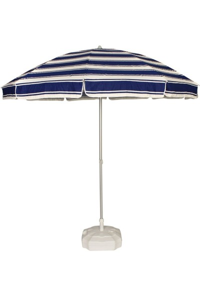 Primera Plaj Şemsiyesi 200 Cm Lacivert Çizgili Pamuklu Kumaş ( Bidonlu )
