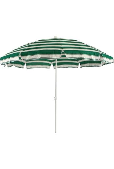 Primera Plaj Şemsiyesi 200 Cm Yeşil Çizgili Pamuklu Kumaş ( Bidonsuz )