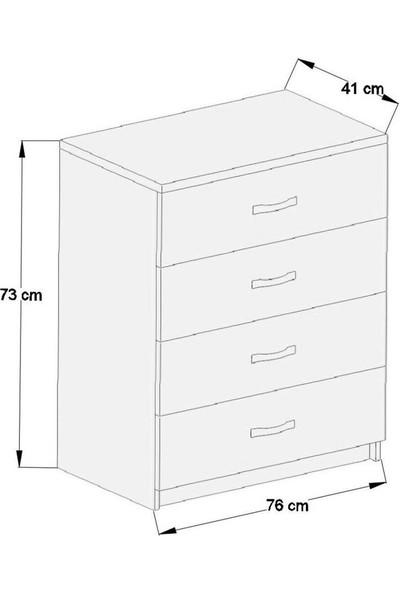 Aeka -1045 Açelya 4 Çekmeceli Şifonyer Beyaz