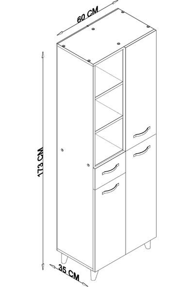 Aeka -1063 Fier 3 Kapaklı Çekmeceli Gardırop - Beyaz