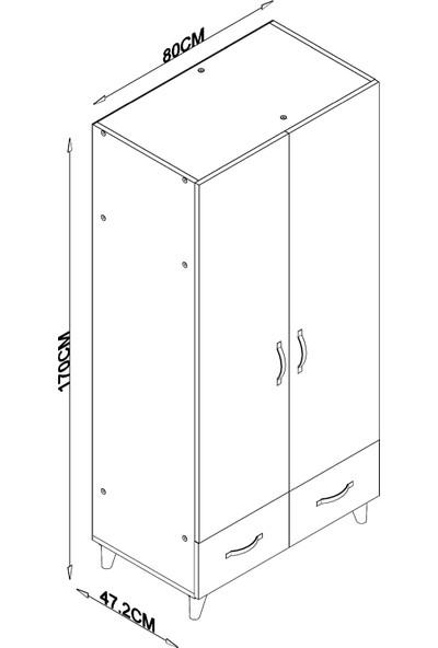 Aeka -1064 Ege 2 Kapaklı 2 Çekmeceli Gardırop - Beyaz Ceviz