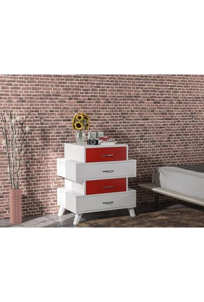 Aeka -1073 Diamont 4 Çekmeceli Şifonyer Kırmızı