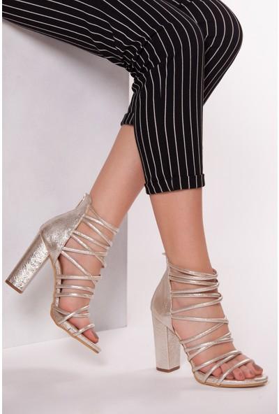 Tarçın TRC01-0011 Kadın Sarı Topuklu Ayakkabı