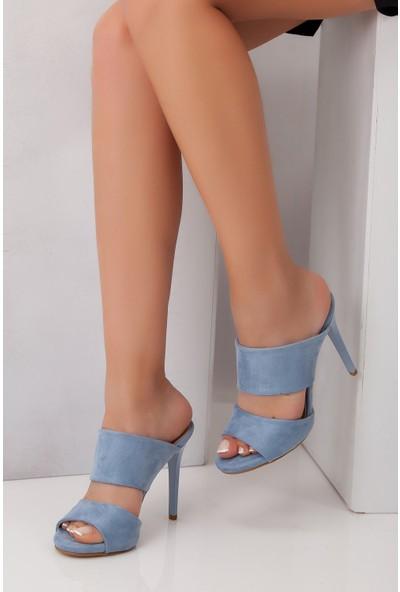 Tarçın TRC01-0104 Kadın Mavi Süet Topuklu Ayakkabı