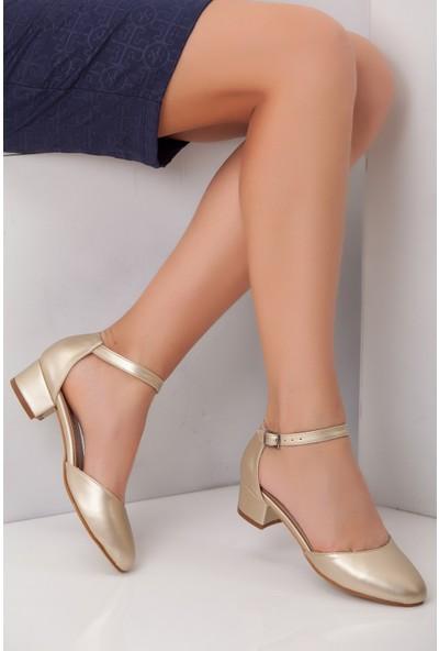 Tarçın TRC01-0142 Kadın Sarı Topuklu Ayakkabı