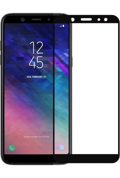 Sonmodashop Samsung Galaxy A6 Plus 2018 3D Tam Ekran Koruyucu Temperli Cam