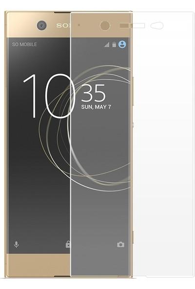 Sonmodashop Sony Xperia XA1 Plus Tam Ekran Kaplayan Full Ekran Koruyucu Temperli Cam