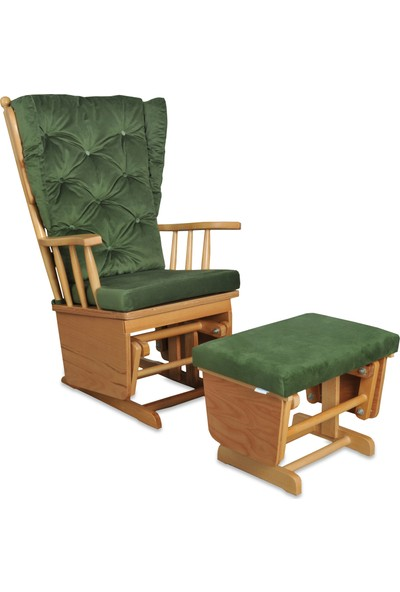 Asedia Teksas Puflu Naturel-Yeşil Sallanan Sandalye
