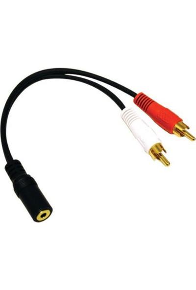 Stereo 3,5Mm Dişi - 2X Rca Erkek Ses Çevirici Kablo