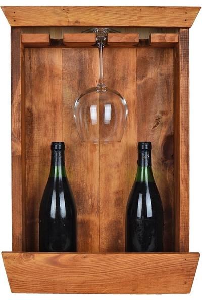 Utyawood Meşe Rengi Ahşap Doğal Şaraplık Standı