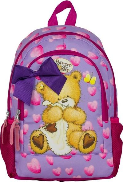 Ümit Çanta Popcorn The Bear Kalpli Kız Çocuk Anaokulu Çantası - 2091