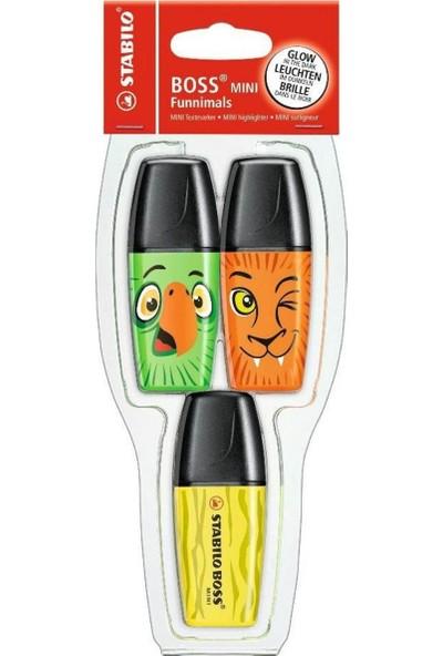 Stabilo Boss Mini Funnimals Fosforlu Kalem (Sarı-Yeşil-Turuncu)