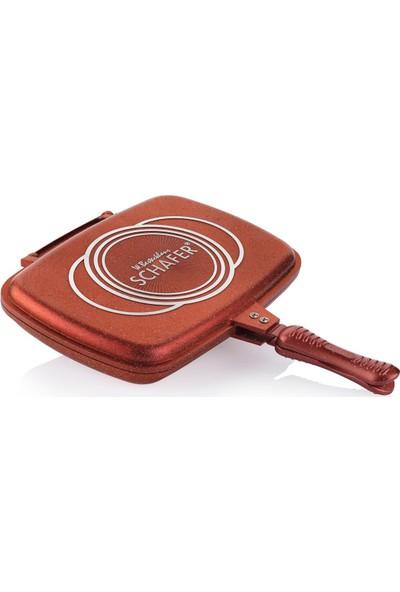 Schafer Granit Kare Double Grill Pan 32 Cm - Kırmızı