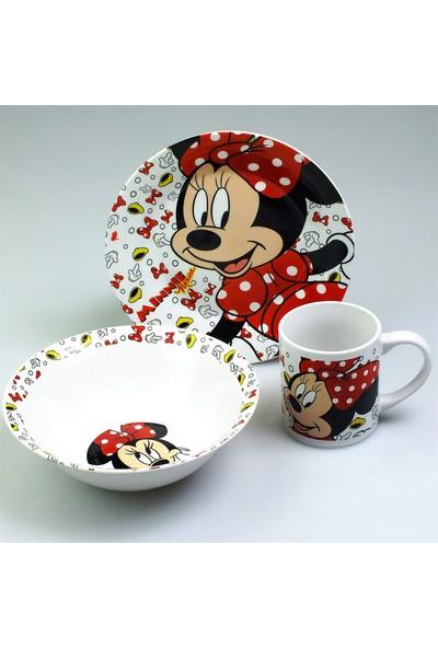 Bayev 3`Lü Lisanslı Porselen Çocuk Mama Seti - Minnie Mouse