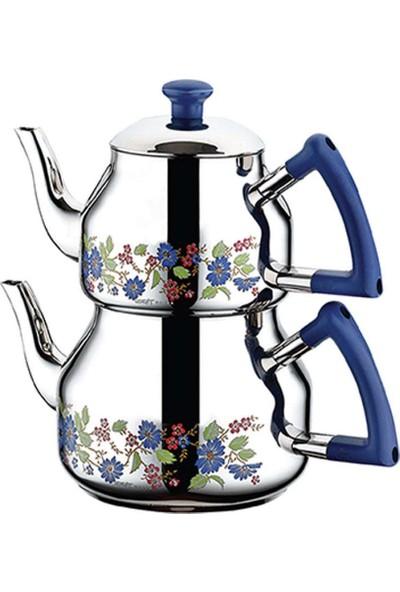 Özkent 314 Marmaris Desenli Mini Çaydanlık - Mavi