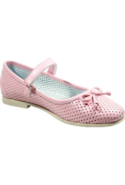 Papşin 271-200 Zımbalı Atkılı Fiyonklu Somon Kız Çocuk Babet Ayakkabı