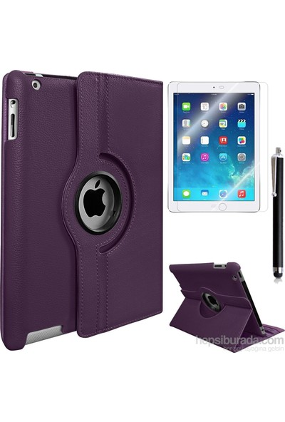 Exclusive Phone Case Exclusive Phone Case iPad Air Kılıf 360 Standlı Mor+Film+Kalem