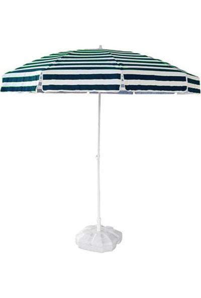 Tevalli 2 metre Plaj Balkon Yeşil Bahçe Şemsiyesi + 20lt Bidon
