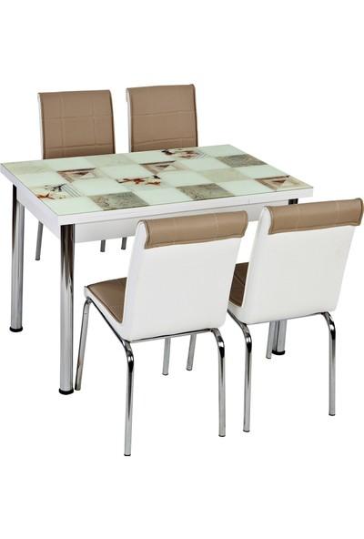 Evistro Yandan Açılır Cam Mutfak Masa Takımı 4 Sandalyeli 60 x 90 cm