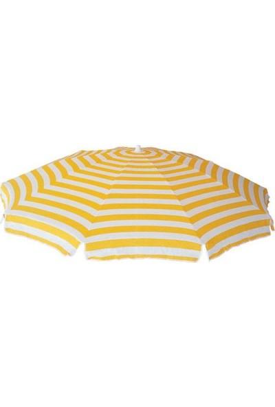 Tevalli 2 metre Plaj Balkon Sarı Bahçe Şemsiyesi