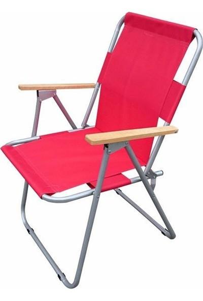Tevalli Katlanır Kamp Piknik Balkon Bahçe Masa Seti Takımı - Kırmızı