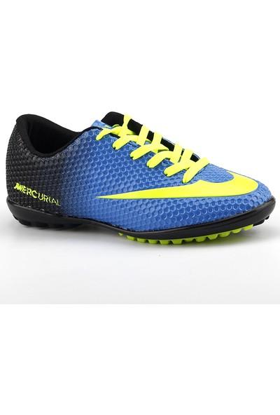 Walked Mavi Krampon Çim Erkek Futbol Spor Ayakkabı
