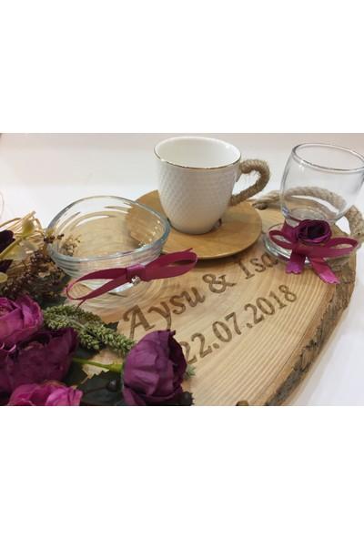 Atelier Es Damat Fincanı Takımı Doğal Ahşap Kütük Nişan Tepsisi 45 cm Büyük Boy Kütük