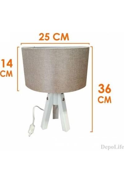 Aeron Kumaş Başlıklı Beyaz 3 Ayaklı Ahşap Tripod Abajur E27 Duy Komidin Etejer