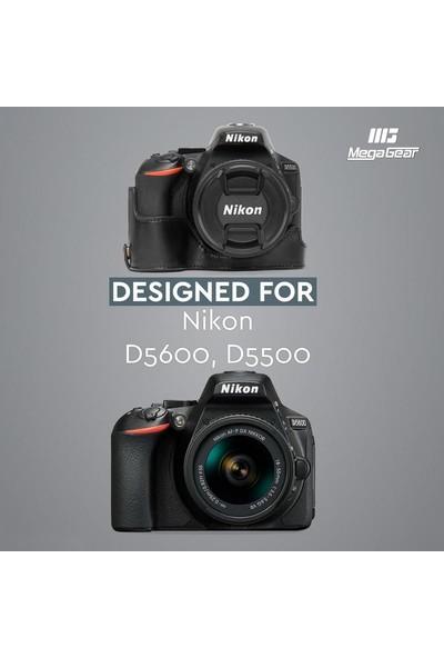 MegaGear Suni Deri Kamera Kılıfı (Tek Dip) Nikon D5600, D5500 Uyumludur