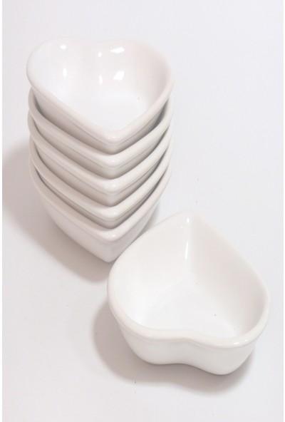 Keramika 6 Adet 14 Cm Beyaz Kalp Çerezlik