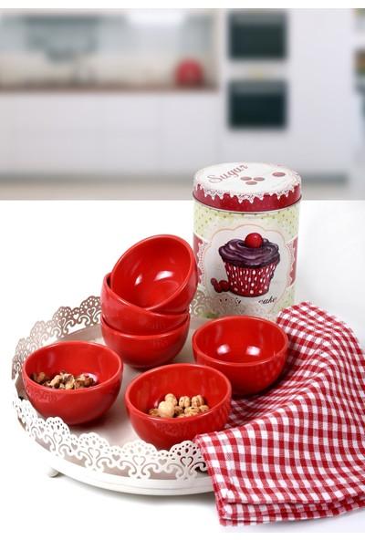 Keramika Kırmızı Bulut Çerezlik/Sosluk 8 Cm 6 Adet