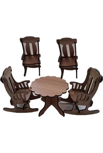 Hobi Ahşap Minyatür Yuvarlak Masa Sandalye Set Ahşap Obje