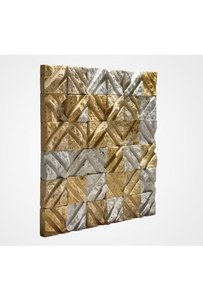 Kaptaş Kapadokya Doğal Taş Fileli Mozaik Ek03 Çapraz Taraklı Patlatma