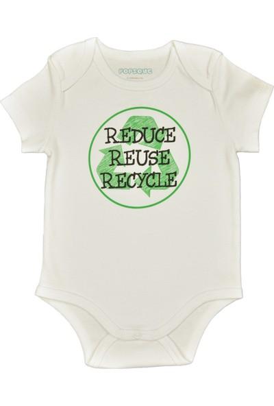 Popique Organics 3R Kısa Kollu Beyaz Organik Body