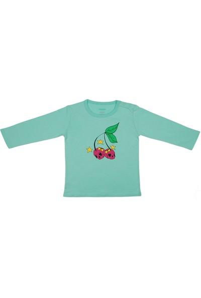 Popique Organics Cherry Uzun Kollu Mint Organik T-Shirt