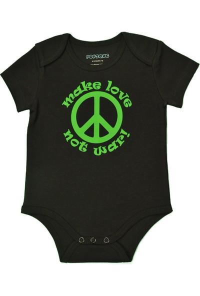 Popique Organics Peace Kısa Kollu Siyah Organik Body