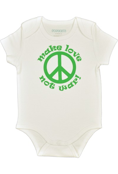 Popique Organics Peace Kısa Kollu Beyaz Organik Body