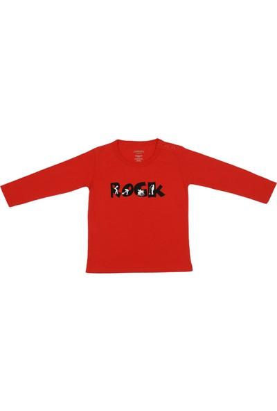 Popique Organics Rock Uzun Kollu Kırmızı Organik T-Shirt