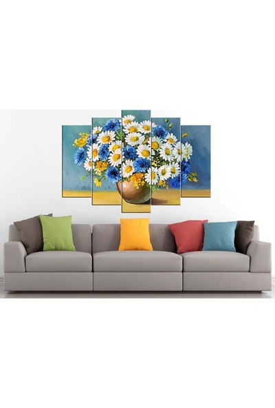 Sibiro Dekoratif Çiçek Konsept Kanvas Tablo Papatyalar 80 x 125 cm - Azyct265