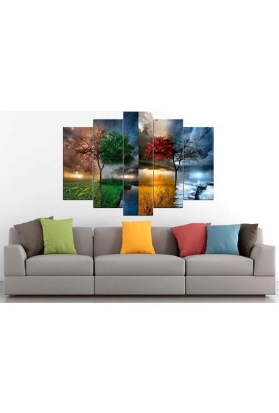 Sibiro Dekoratif Yağlı Boya Görünüm Kanvas Tablo 4 Mevsim 80 x 125 cm - Azypl34