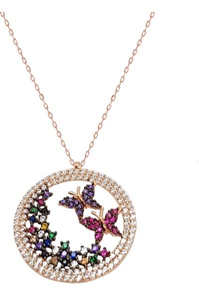 Chavin Kelebekli Çiçekler Gümüş Kolye Ds18