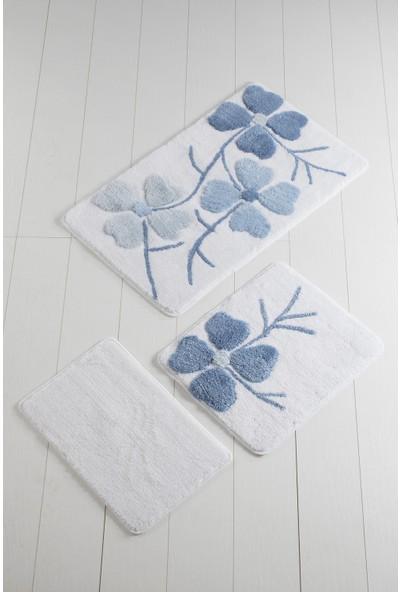 Chilai Home Kırçiçeği Mavi 3'lü Banyo Takımı Seti