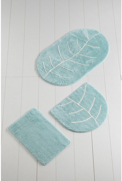 Chilai Home Yaprak Mint 3Lü Set Banyo paspası