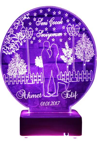 Vipyol Sevgili Hediyesi İsimli Gece Lambası Aşk Bahçesi Lamba