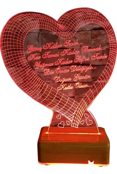 Vipyol Sevgili Hediyesi İsimli Gece Lambası Büyük Kalp Doğum Günü Hediyesi