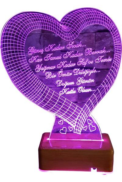 Vipyol Doğum Günü Hediyesi Büyük Kalpli İsimli Gece Lambası Sevgili Hediyesi